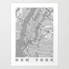 New York Map Line Art Print