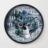 Blue grunge ohm skull Wall Clock