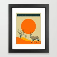 Framed Art Print featuring NAMIBIA Travel Poster by Jazzberry Blue