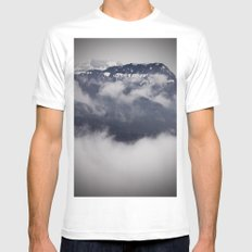 Cold Columbia Gorge Morning Staring Into Washington's Mountains Mens Fitted Tee White SMALL