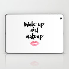 Wake Up And Makeup,Girls Room Decor,Bathroom Decor,Quote Prints,Lips Art,Gift For Her,Wall Art Laptop & iPad Skin