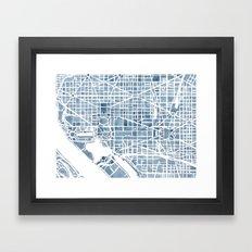 Washington DC Blueprint watercolor map Framed Art Print