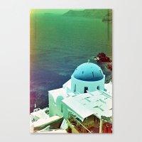 Blue Dome Church, Santorini: Shot with a Nikon FM2 and Revolog 600nm film Canvas Print