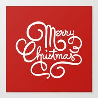 Merry Christmas 3 Red Canvas Print