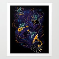 Two Turntables and a Gramophone  Art Print