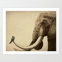 bird Art Prints featuring Old Friend by Eric Fan