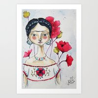 Frida with Poppies Art Print