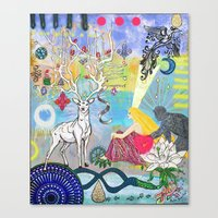 The Lovers and the blue deer  Canvas Print