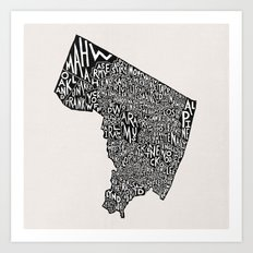 Bergen County, New Jersey Map Art Print