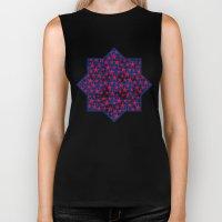 Red stars on grunge textured blue background Biker Tank