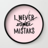 I Never Make Mistaks - Typography Pink Wall Clock