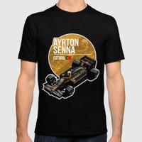 Ayrton Senna - 1985 Estoril Mens Fitted Tee Black SMALL
