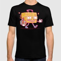 Back to School Lunchpail Bot Mens Fitted Tee Black SMALL