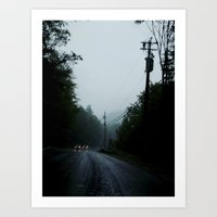 black road rain Art Print