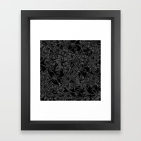 Snaky Fleur, Black And G… Framed Art Print