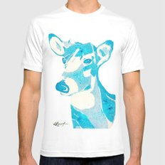 Deerest Blue White SMALL Mens Fitted Tee