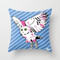 Owl w/ sneakers Throw Pillow
