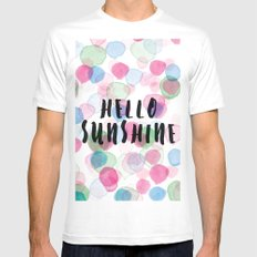 Hello Sunshine White Mens Fitted Tee SMALL