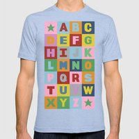 Alphabet Portrait Mens Fitted Tee Tri-Blue SMALL