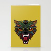 wolf fight flight ochre Stationery Cards