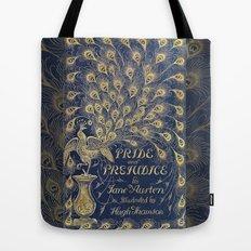 Pride and Prejudice by Jane Austen Vintage Peacock Book Cover Tote Bag