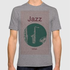 Jazz Relax and play sax Mens Fitted Tee Athletic Grey SMALL