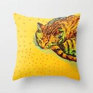 Cat Shimmie (ochre Paper… Throw Pillow