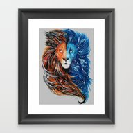 Fire And Ice Lion Framed Art Print