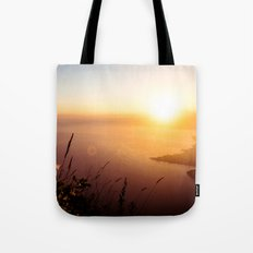 The view from my tent over Lake Atlitán Tote Bag
