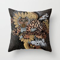 Throw Pillow featuring Frolic! II by Creative Cat's Studio - Tricia W. Beal