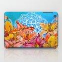 Orange Lilies & White Mandala on Blue iPad Case
