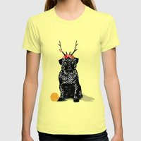 Pug (the Bright Life) Womens Fitted Tee Lemon SMALL