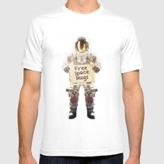 Space hugs White SMALL Mens Fitted Tee