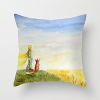 Little Prince, Fox and Wheat Fields Throw Pillow