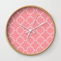 Moroccan White and Coral Wall Clock