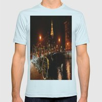Amsterdam At Night Mens Fitted Tee Light Blue SMALL
