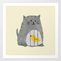A Cat That Swallows A Bi… Art Print