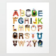 Art Print featuring Muppet Alphabet by Mike Boon
