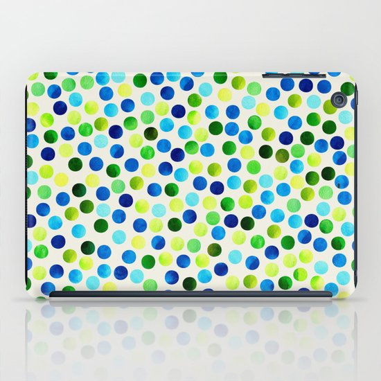 Watercolor Dots_Aqua by Jacqueline and Garima iPad Case