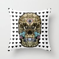 Skull Say Love Hearts (H… Throw Pillow