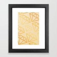 DIAMOND PATTERN - YELLOW Framed Art Print