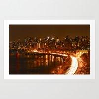 New York City Night Skyl… Art Print