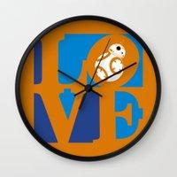 Robot LOVE - Orange Wall Clock