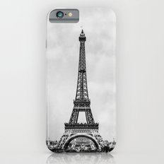 Eiffel tower, Paris France in black and white with painterly effect iPhone 6s Slim Case