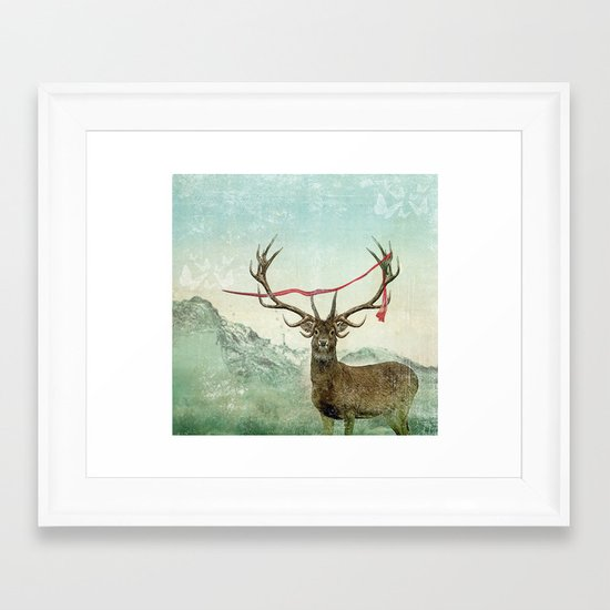 hold deer, tsunami Framed Art Print