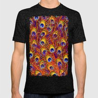 Peacock Feathers Colorfu… Mens Fitted Tee Tri-Black SMALL