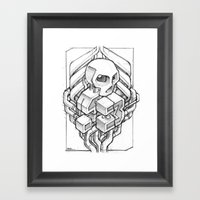 Isometric 13 Skull sketch Framed Art Print