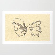 Cthulhu meet Dagon Art Print