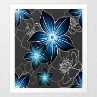 Cobalt And Charcoal Art Print