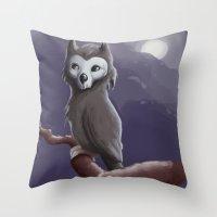 Skull Owl  Throw Pillow